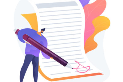 Contract signing. Deal confirmation, official document signature, business statement. Office worker doing paperwork, bureaucracy and formalities idea. Vector isolated concept metaphor illustration